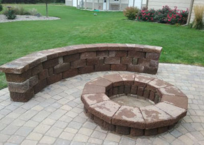 Firepit with Patio Pavers and Brick Bench