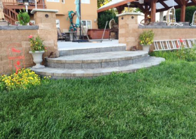 Patio Pavers and brick steps Landscaping