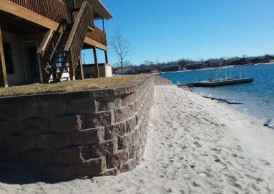 Retaining wall on the beach
