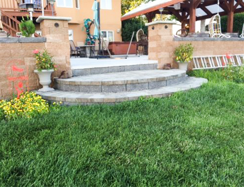 Patio Pavers with Stairs and retaining wall