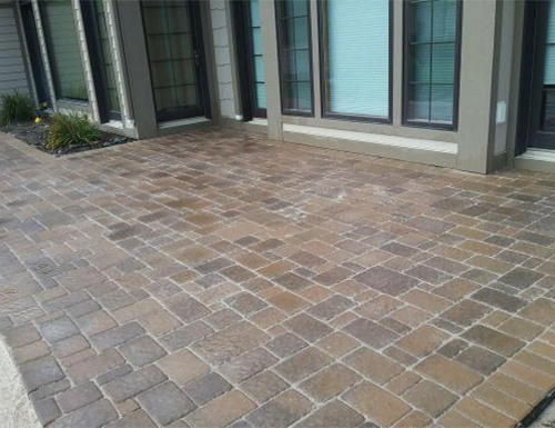 Newly laid patio pavers.