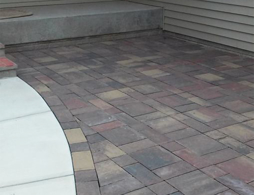 Patterned patio pavers.
