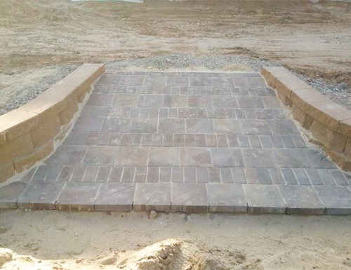 Front view patio paver ramp.