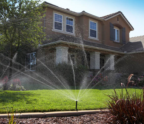 Underground sprinklers installed on a residential home.