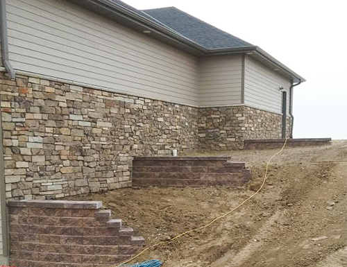 Multi-level residential retaining wall.