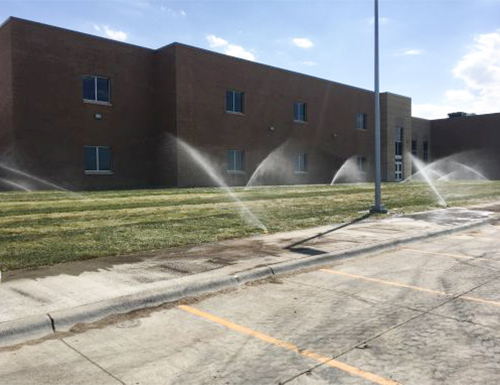 Newly installed sprinklers.