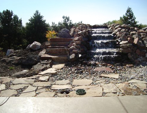Commercial waterfall with landscaping